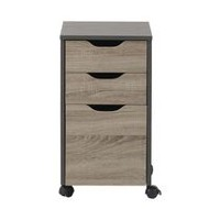 Homestar Reclaimed Wood Finish Filing Cabinet with 3 Drawers