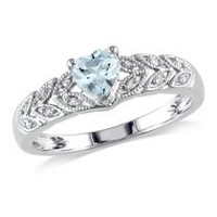 Tangelo 0.33 Carat T.G.W. Heart-Cut Aquamarine and Diamond Accent Sterling Silver Fashion Ring 5