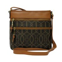 George Women's Lil Zip Crossbody Brown Trellis
