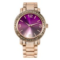 Fashion Watches Women's Rose Gold Tone Watch with Glitz Details on Bezel