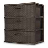 Sterilite 3 Drawer Wide Espresso Weave Tower