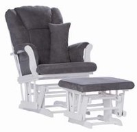 Storkcraft Premium Glider and Ottoman Dark Grey
