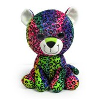 "Kids 0-9 9"" Colorful Big Eye Rainbow Leopard Plush Toy"