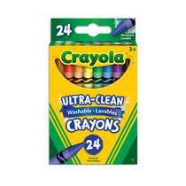 Crayons de cire lavables, couleurs variées, 24 ct