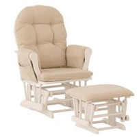 Storkcraft Comfort Glider and Ottoman (White Finish) White/Beige