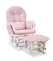 Storkcraft Comfort Glider and Ottoman (White Finish) White/Pink Chevron