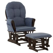 Storkcraft Comfort Glider and Ottoman Espresso/Blue