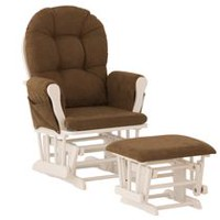 Storkcraft Comfort Glider and Ottoman (White Finish) White/Chocolate