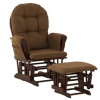 Storkcraft Comfort Glider and Ottoman (Cherry Finish) Cherry/Chocolate