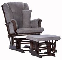 Storkcraft Premium Glider and Ottoman (Espresso Finish) Espresso/Gray
