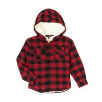 George Boys' Sherpa-Lined Flannel Shirt Red XS