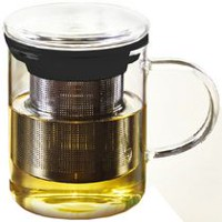 CAESARSTEA Glass Mug and Infuser Black