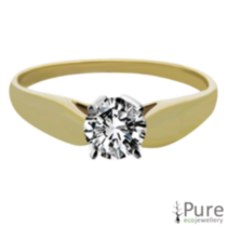 0.30 ct Round Brilliant Diamond Solitaire Ring Yellow Gold 8.5