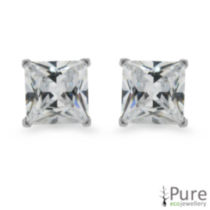 6mm CZ Princess Studs