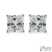 7mm CZ Princess Studs