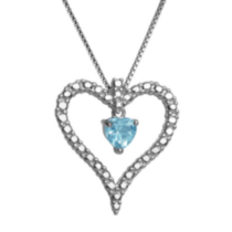 Sterling Silver Genuine Blue Topaz Heart Pendant with Diamond Accent