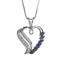 Sterling Silver Genuine Sapphire Heart Pendant with Diamond Accent