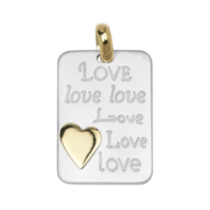 "Sterling Silver Two-Tone ""Love"" Charm"