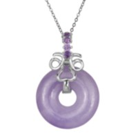 Sterling Silver Lavender Jade Pendant with Genuine Amethysts