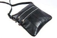 Champs Leather Metal Zipper Bag Black