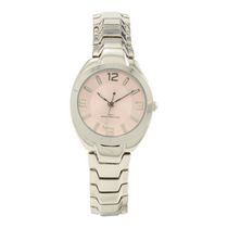 Fashion Watches Women's Silver Tone Watch with Pink Sunray Dial