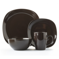 Mainstays Brown Square 16 Piece Dinner Set