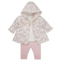 George British Design Baby Girls' 3Pc Wadded Set 3-6 months
