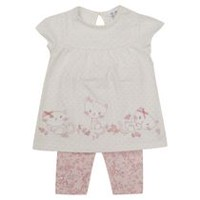 George British Design Baby Girls' Cat Border Jersey Set 6-12 months