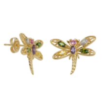 Sterling Silver 18 K Gold Plated Dragonfly Earrings with Multi-Coloured Cubic Zirconia Accents