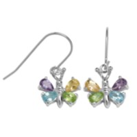 Sterling Silver Multi-Gemstone Butterfly Earrings