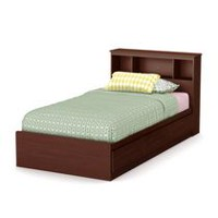 South Shore Little Treasures Twin Mates Bed with Drawers and Bookcase Headboard - 39 inch Set