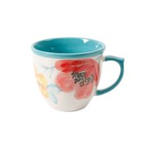 The Pioneer Woman Flea Market 16 oz. Floral Turquoise Solid Decorated Mug