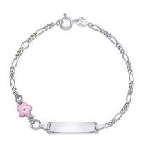 Decadence Kids Sterling Silver Rhodium Childrens Pink Enamel Star 6 Id Bracelet