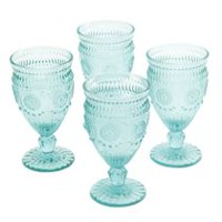 The Pioneer Woman Adeline 12 oz. Footed Teal Glass Goblet