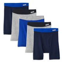Fruit of the Loom Boys 5-Pack Covered Waistband Boxer Brief L