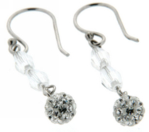 Sterling Silver drop earring with white crystals