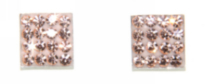 Sterling Silver 8mm Square Stud Earrings With Peach Colour Crystals
