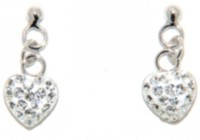 Sterling Silver Heart Shape Drop Earrings with White Crystals
