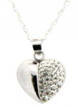 "Sterling silver heart crystal pendant on a 18"" sterling chain"