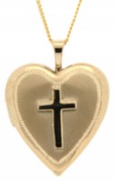 "14Kt Gold Filled ""Cross"" Heart Locket On 18"" Gold Filled Chain"