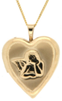 "14kt Gold Filled ""Angel"" Heart Locket on 18"" gold filled chain"