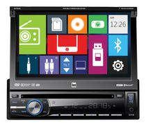 "Dual DV704BI 7"" flip-out DVD multimedia receiver with built-in bluetooth and full iPod control."