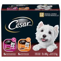 Cesar Entrées 6 Grilled Chicken & 6 Porterhouse Steak Flavour  Food for Small Dogs