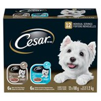 Cesar 6 Braised Chicken and Garden Vegetables and 6 New York Strip Slices for Small Dogs