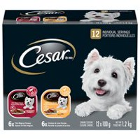 Cesar Entrées 6 Filet Mignon Flavour & 6 with Chicken and Liver Food for Small Dogs