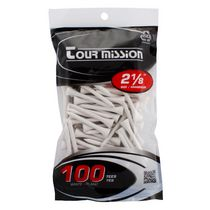Tour Mission 53 mm Wooden Golf Tees, Pack of 100 - White