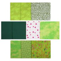 Fabric Creations Fat Quarter Cotton Fabric Assortment Green, White, & Pink