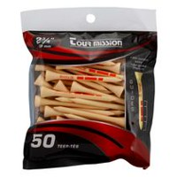 Tour Mission 69 mm Wooden Golf Tees - With insertion guides, Pack of 50 - Natural