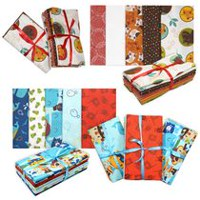 Fabric Creations Fat Quarter Cotton Fabric Bundles Brown, Red, Orange, & Blue