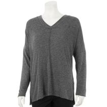 George Women's V-Neck Brushed Hacci Sweater Grey L/G